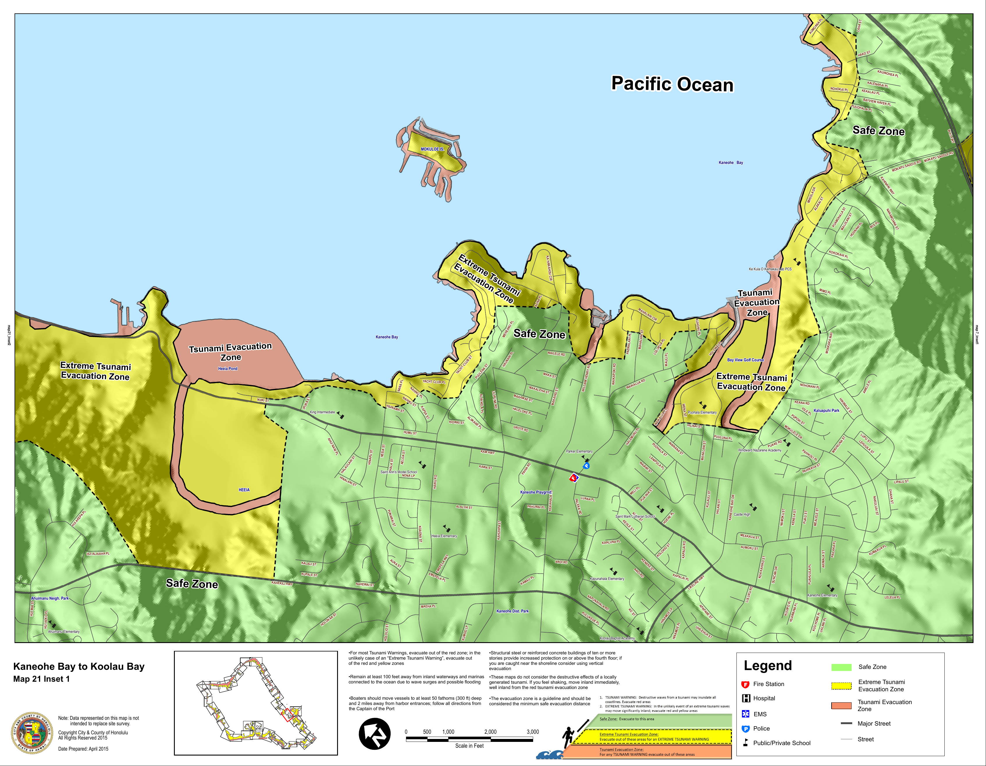Kaneohe Bay Hawaii Map.Hawaii State Tsunami Evacuation Maps